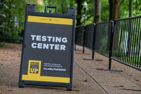 """sign reading """"testing center"""" outside of the vanderbilt recreation center"""