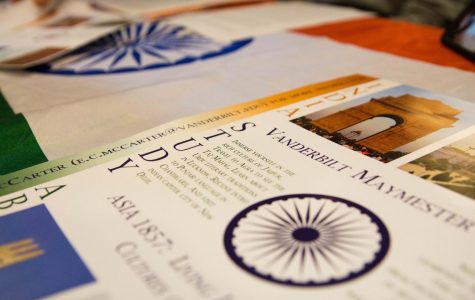 Pamphlets from last year's Study Abroad Fair on Thursday, Aug. 29, 2019 detail aspects of Vanderbilt's Maymester in India.