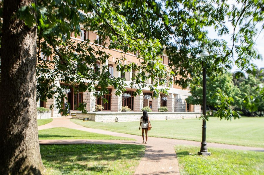 woman walking on path in sunshine in front of brick building, wilson hall