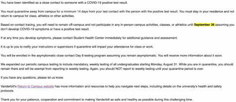 Screenshot of VPHCCC email