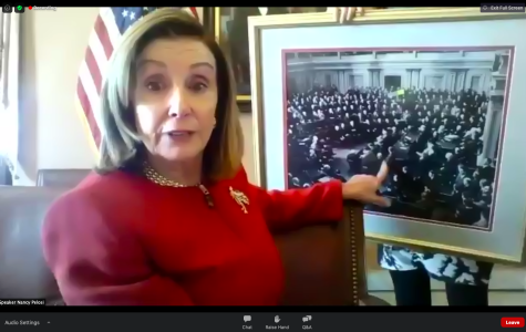 Speaker of the House Nancy Pelosi made a Zoom appearance in U.S. Elections class on Sept. 22. (Hustler Staff/Screenshot by Immanual John Milton)