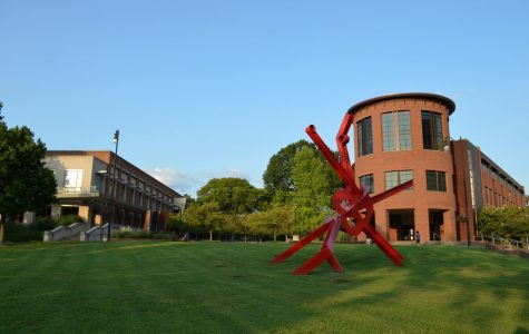 Red sculpture outside Student Life Center, photographed on Sept. 10, 2020. (Hustler Multimedia/Alex Venero)