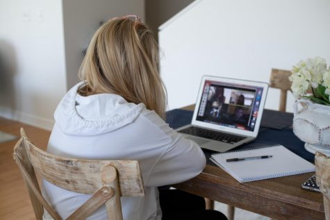 Student attending a Zoom meeting