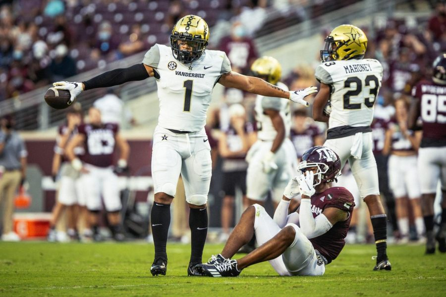 Donovan Kaufman celebrates a pass breakup in the Commodores loss to Texas A&M on Sept. 26th. (Hustler Multimedia/Hunter Long)