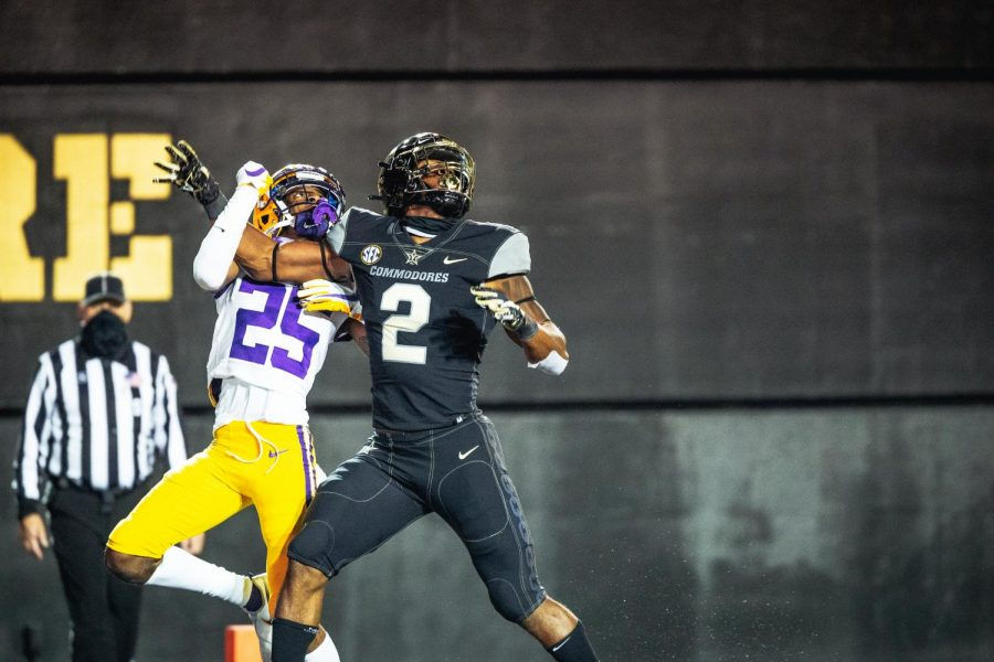 Amir Abdur-Rahman (2) goes up for a catch in a 41-7 loss to LSU on Oct. 3, 2020. (Hustler Multimedia/Hunter Long)