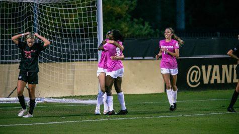 Haley Hopkins celebrates a game-winning goal against Georgia on Oct. 25. (Hustler Multimedia/Hunter Long)