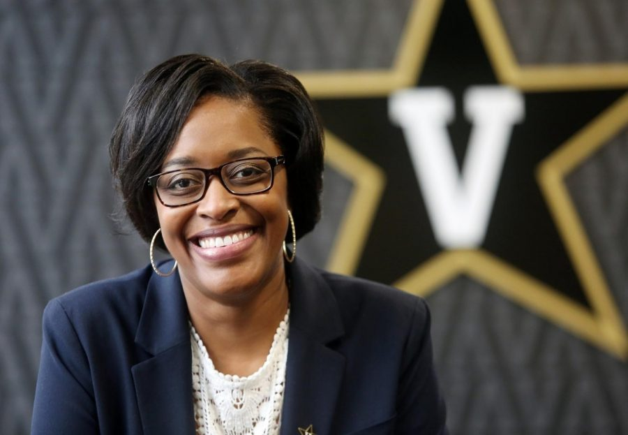 Candice Storey Lee in Vanderbilt athletics' McGugin Center. (Style Blueprint)