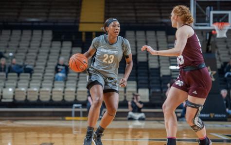 Koi Love drives to the basket in Vanderbilt's 68-52 loss to Mississippi State on Jan. 23, 2020. (Hustler Multimedia/Truman McDaniel)