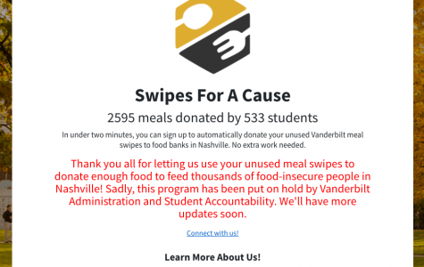 Swipes for A Cause was put on hold as a result of Vanderbilt's Oct. 27 notice regarding student privacy. Screenshot taken of https://www.swipesforacause.org on Oct. 30. (Hustler Staff/Immanual John Milton)