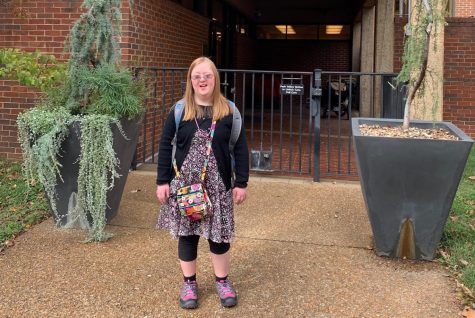 First-year Hannah Humes in front of The Susan Gray School for Children (Marcy Humes)