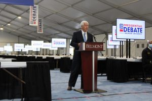 Belmont President Dr. Bob Fisher talks about Belmont's preparations for the presidential debate during an Oct. 16 press conference. (Hustler Multimedia/Avery Muir)