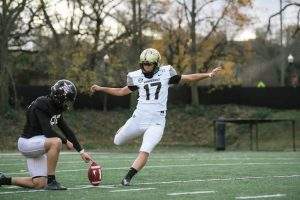 Sarah Fuller taking practice kicks ahead of Vanderbilt's contest against Missouri. (Hustler Multimedia/Truman McDaniel)