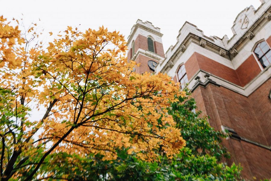 Kirkland Hall through a fall tree, photographed on October 12, 2020. (Hustler Multimedia/Emery Little)