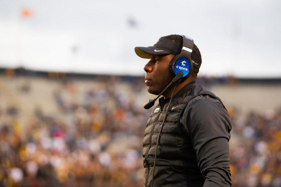 Derek Mason coaching against Missouri on October 19, 2019. (Hustler Multimedia / Hunter Long)