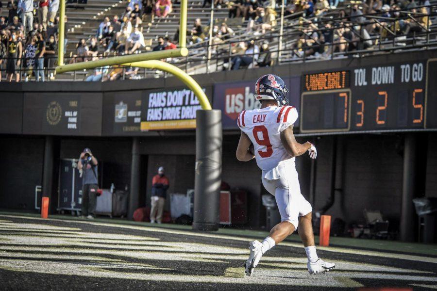 Jerrion Ealy scores a touchdown in Ole Miss' 54-21 win over Vanderbilt on Oct. 31, 2020. (Hustler Multimedia/Truman McDaniel)