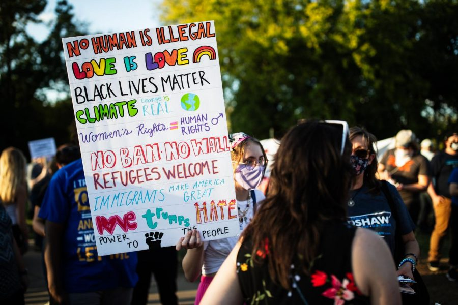 Protesters and counter-protesters stand outside of Belmont before the final presidential debate on October 22nd, 2020. (Hustler Multimedia/Hunter Long)