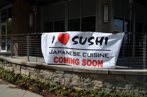A sign outside Nama marking the upcoming arrival of I Love Sushi to Elliston Place. (Hustler Multimedia/Alexandra Venero)