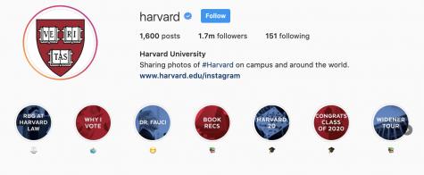 Harvard's Instagram page