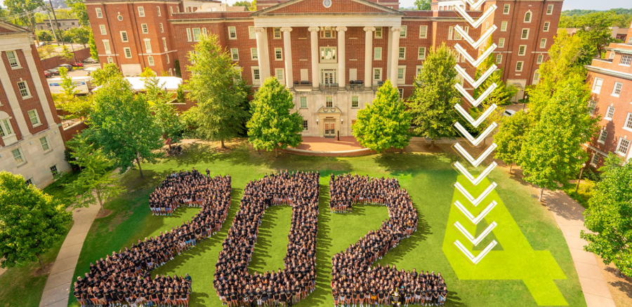 During a normal school year, Vanderbilt freshmen line up to spell the year of their graduating class, which unfortunately could not happen for the Class of 2024. Vanderbilt University)