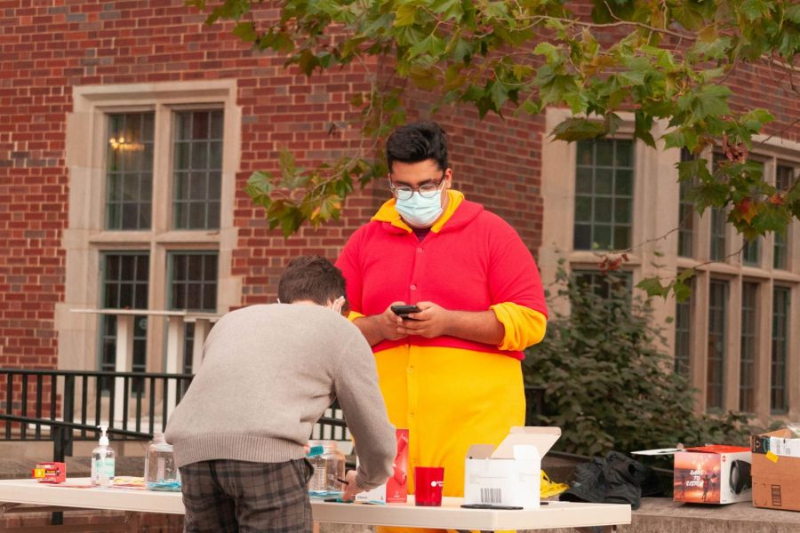 Sutherland hosts a Fall event outside of their commons house on October 30th, 2020. (Hustler Multimedia/Josh Rehders)