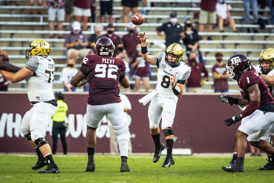 Quarterback Ken Seals throws a pass in Vanderbilt's week one loss to Texas A&M. (Hustler Multimedia/Hunter Long).
