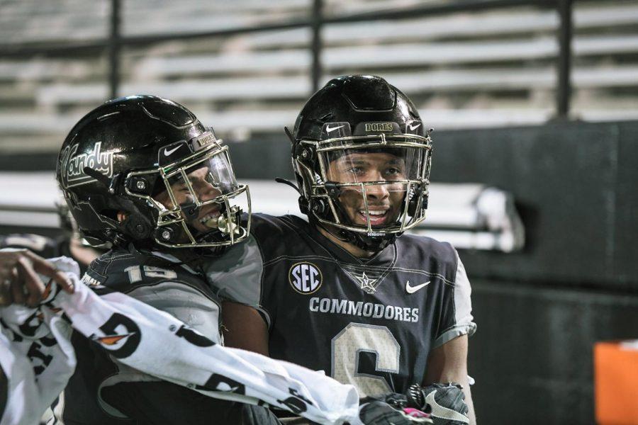Gabe Jeudy-Lally and Elijah Hamilton in Vanderbilt's 42-17 loss to Tennessee on Dec. 12, 2020. (Hustler Multimedia/Truman McDaniel)