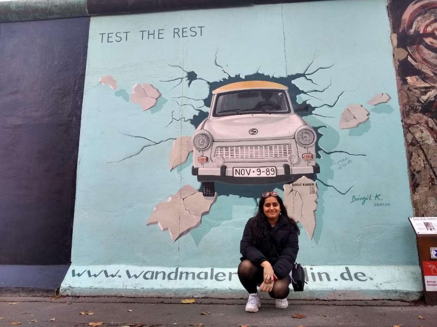 Sophomore Safa Shahzad at the Test The Rest mural in Berlin (Safa Shahzad)