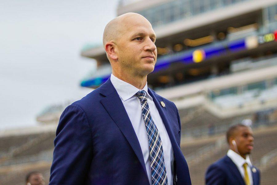 Clark Lea as defensive coordinator of the Notre Dame Fighting Irish. (CBS Sports)