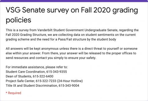 VSG Senate pass/fail survey