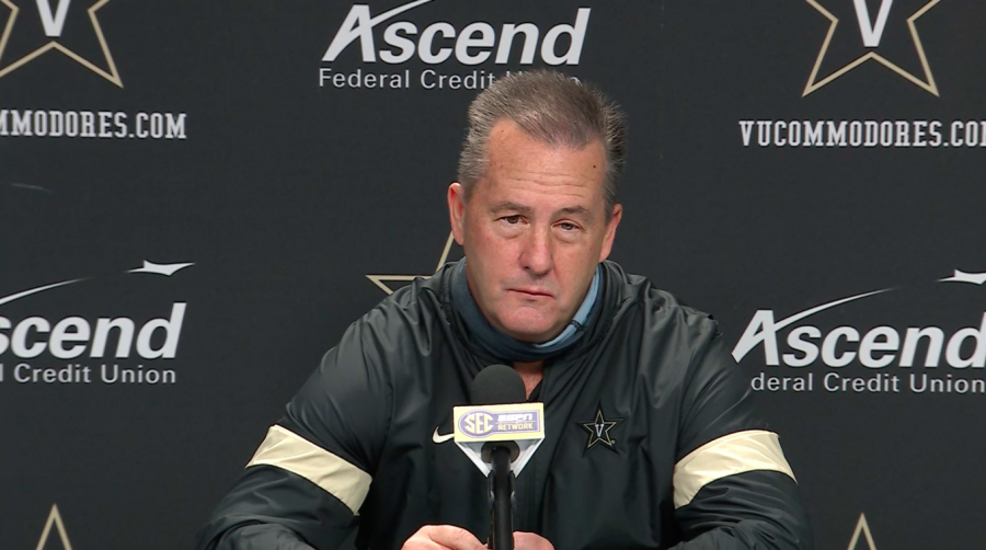 Todd Fitch in his first press conference as interim head coach on Dec. 1, 2020. (Vanderbilt Athletics)