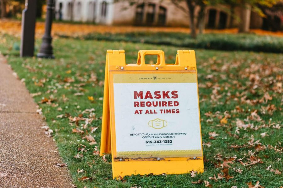 image telling students masks are required