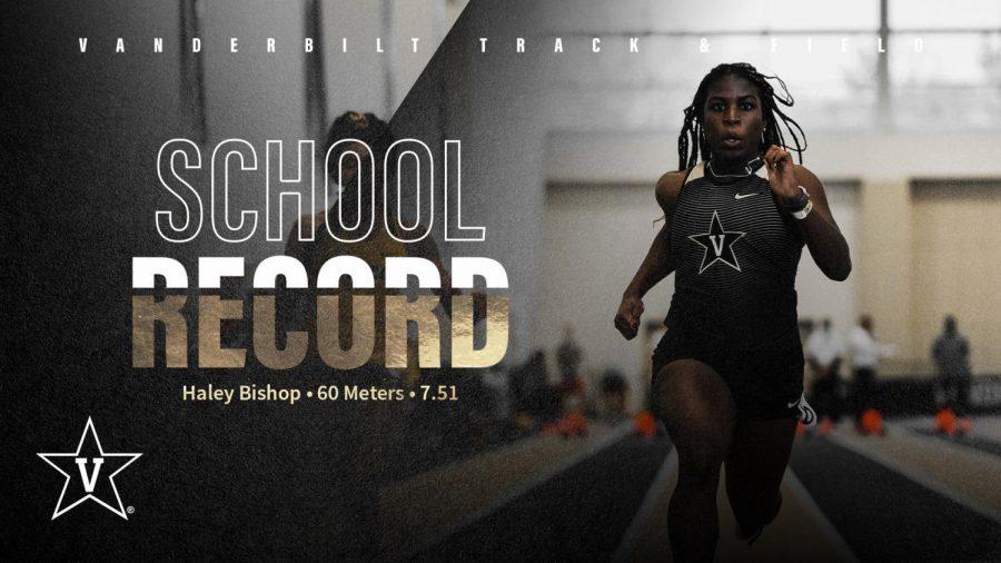Haley Bishop breaks a program record in the 60-meter dash. (Facebook/VanderbiltXC)