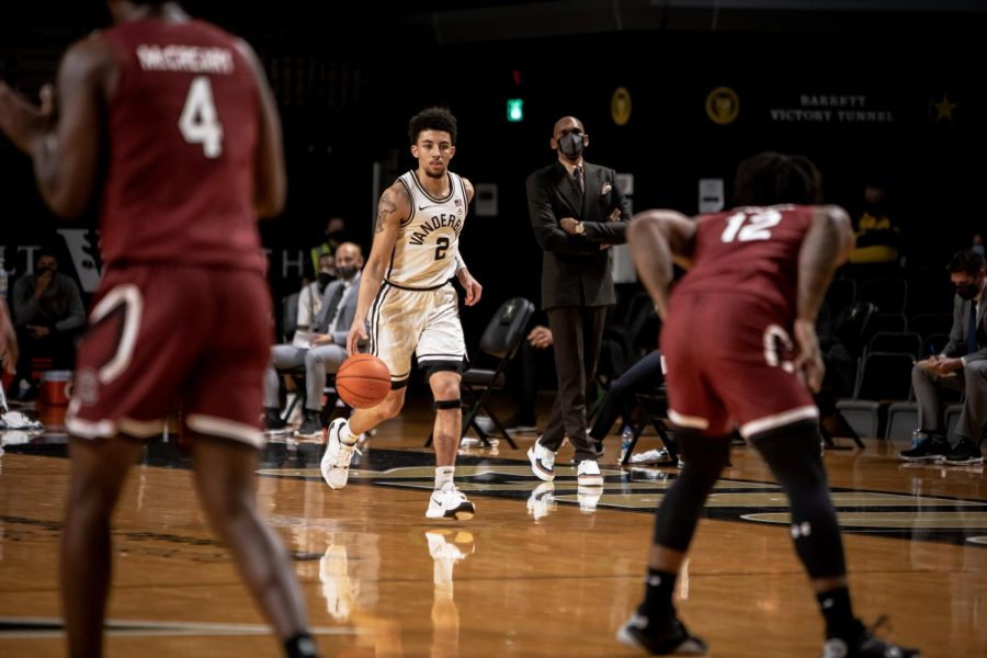 Scotty Pippen Jr plays against South Carolina in Vanderbilt's Victory against South Carolina on Saturday, January 30, 2021 (Hustler Multimedia//Hunter Long)