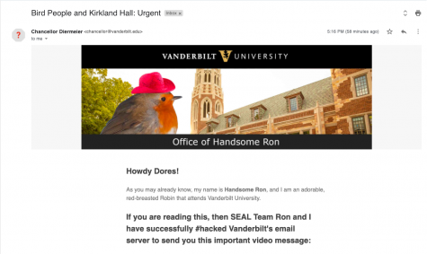 Dores Divest, a student group advocating for divestment from fossil fuels, sent an email to part of the student body impersonating the chancellor on Jan. 25, 2021. Screenshot taken of email. (Hustler Staff/Immanual John Milton)