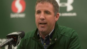 Joey Lynch speaks at a press conference while at Colorado State. (The Coloradoan)