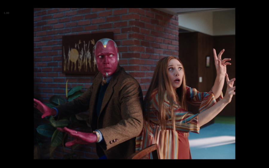"""Wanda's telekinetic powers go haywire in the latest episode of """"WandaVision, but it's nothing she and Vision can't handle—especially through wacky 70s humor. (Marvel Studios/WandaVision)"""