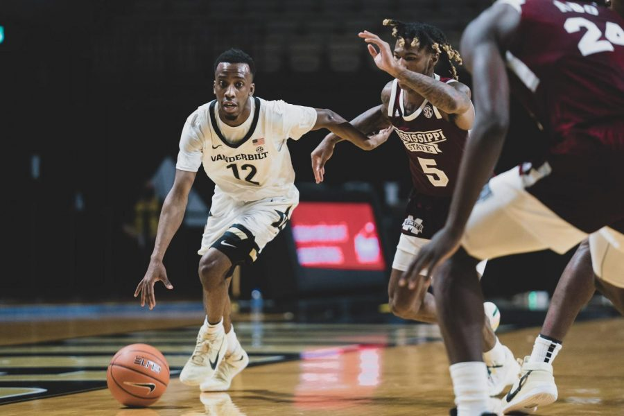 Guard Trey Thomas scored 17 points off the bench in Vanderbilt's loss to Mississippi State. (Truman McDaniel/Hustler Multimedia).