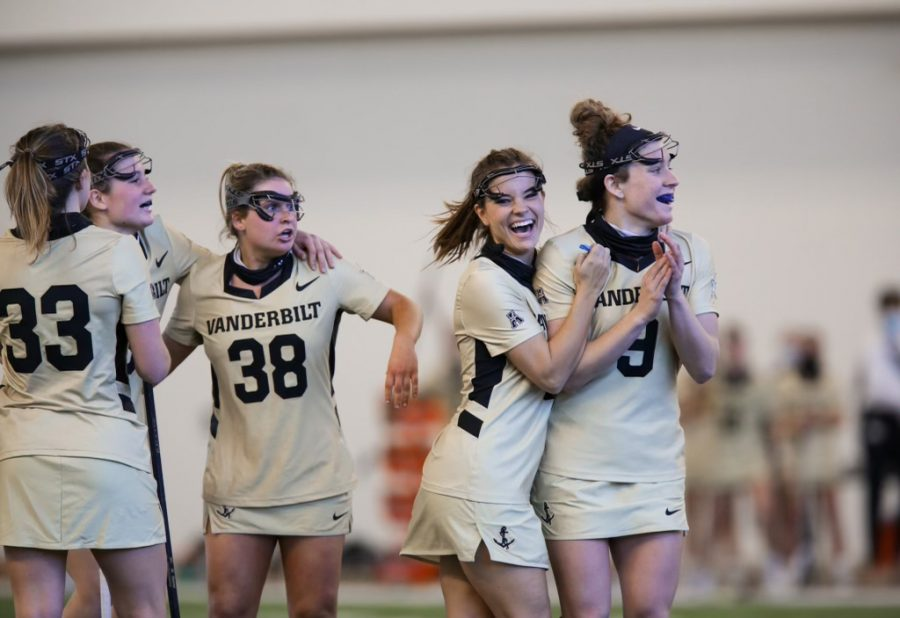Vanderbilt+lacrosse+celebrates+its+game-winning+goal+and+subsequent+upset+over+No.+24+Colorado.+%28Hustler+Multimedia%2FMattigan+Kelly%29