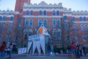 Students carried a 14-foot figure of a unicorn to Kirkland Hall on Feb. 23. (Hustler Multimedia / Josh Rehders)