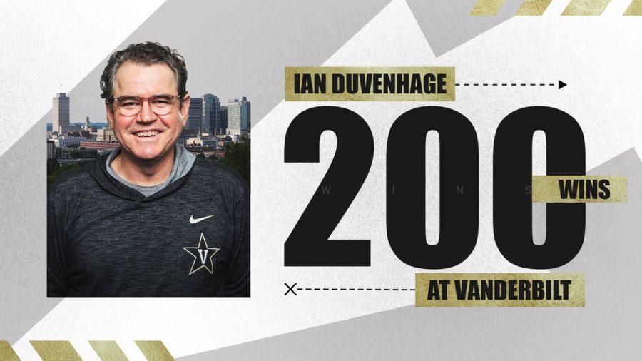 Ian Duvenhage picked up his 200th win last weekend in Vanderbilt's rout of Lipscomb. (Twitter/@VandyMTennis)
