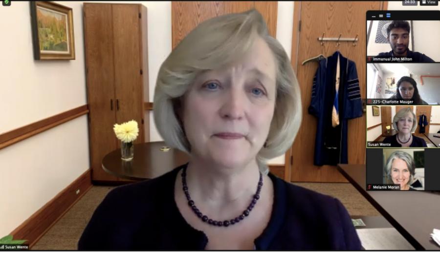 Screenshot from Feb. 3 Zoom call with Provost Susan Wente. (Hustler Staff/Screenshot Immanual John Milton)