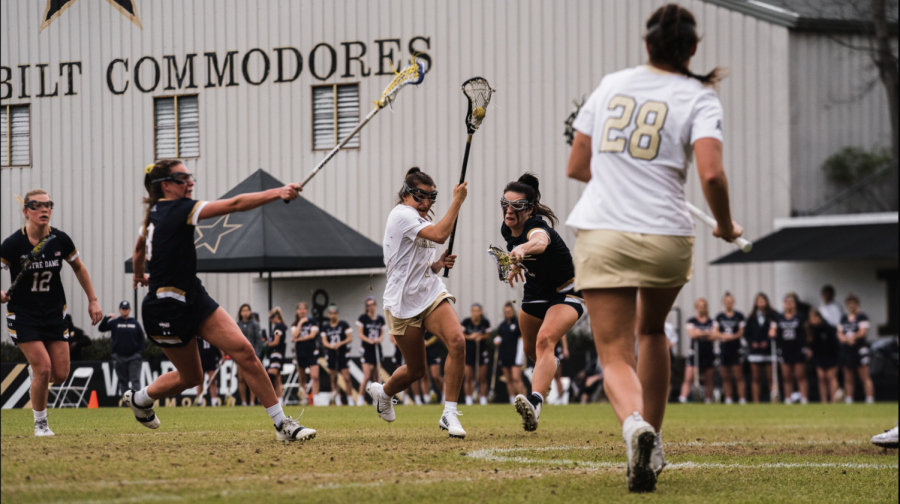 Gabby Fornia cuts to the goal against Notre Dame in 2020. (Vanderbilt Athletics)