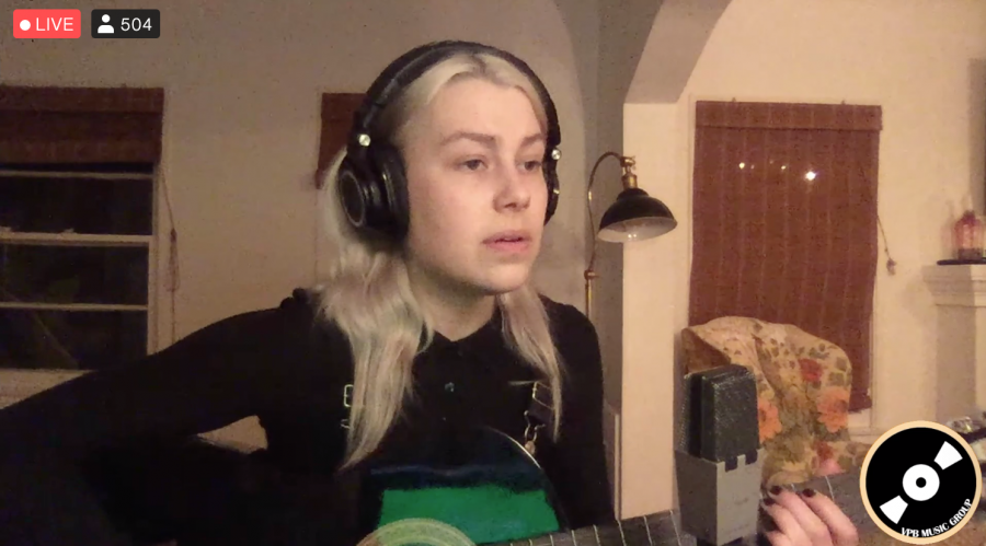 Phoebe Bridgers performs a casual set right from her home for Vanderbilt's VIBES concert series. (Hustler Staff/Becca Rossi)