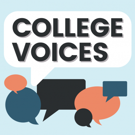 College Voices graphic featuring empty text bubbles