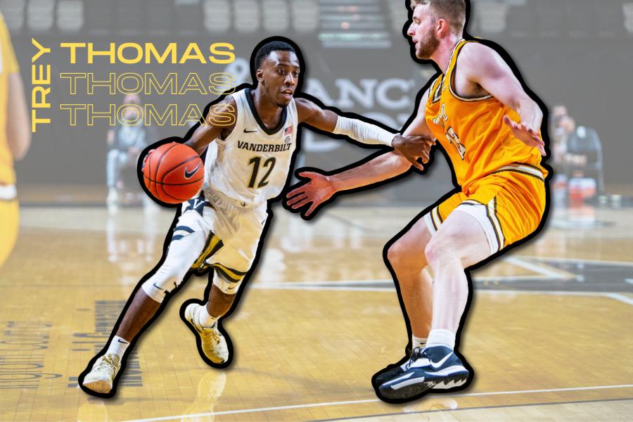 Trey Thomas drives to the hoop in Vanderbilt's season-opener against Valparaiso. (Hustler Communications/Emery Little)