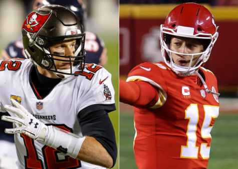 Tampa Bay Buccaneers quarterback Tom Brady, left, and Kansas City Chiefs quarterback Patrick Mahomes.(Kamil Krzaczynski / Associated Press; Jamie Squire / Getty Images)