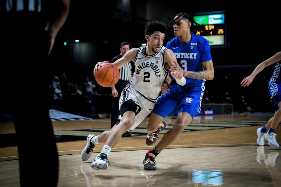 Scotty Pippen Jr. scored 21 points in Vanderbilt's loss to Kentucky on Wednesday. (Hustler Multimedia/Truman McDaniel).