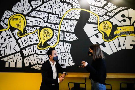 Staff Writer Sophie Edelman speaks with Banh Mi and Roll+ restaurant owner Ken Vo (Hustler Multimedia/Elle Choi)