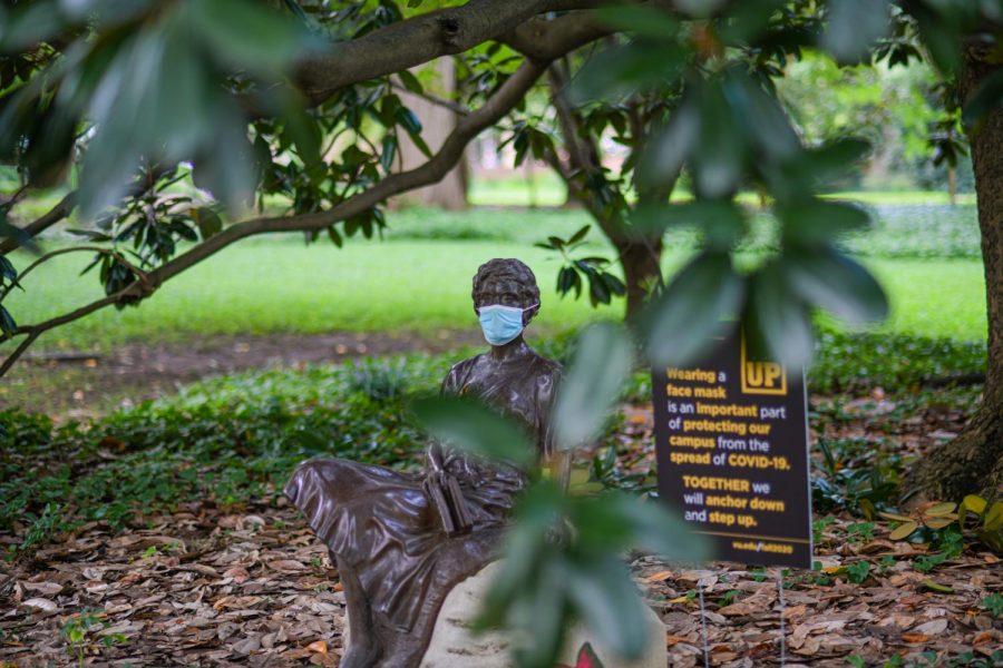 Even Vanderbilts statues wear masks. (Hustler Multimedia/Truman McDaniel)