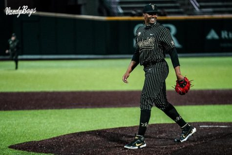 Kumar Rocker against South Carolina on March 19, 2021. (Twitter/@VandyBoys)